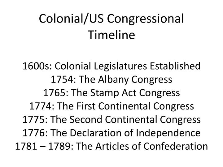 Colonial/US Congressional  Timeline