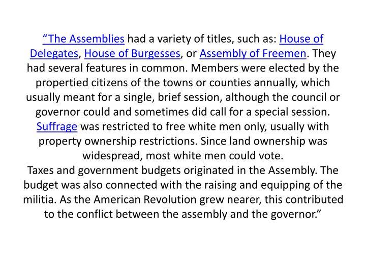 """""""The Assemblies"""
