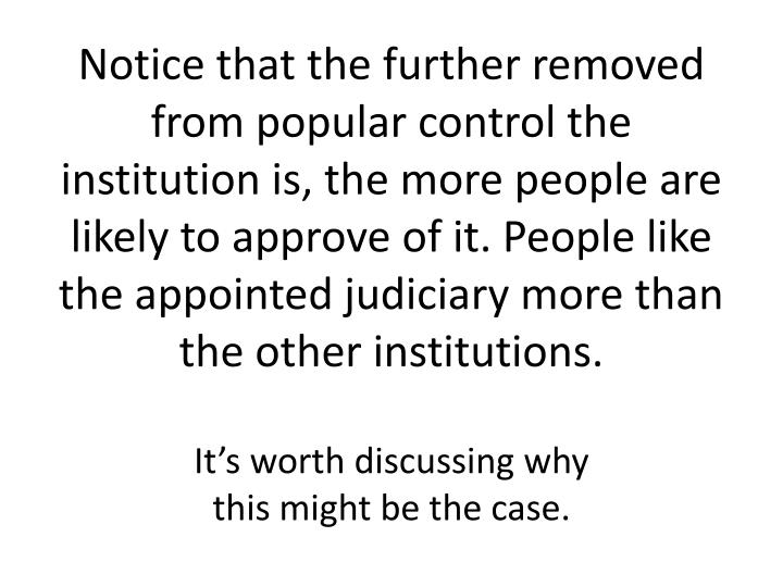 Notice that the further removed from popular control the institution is, the more people are likely to approve of it. People like the appointed judiciary more than the other institutions.