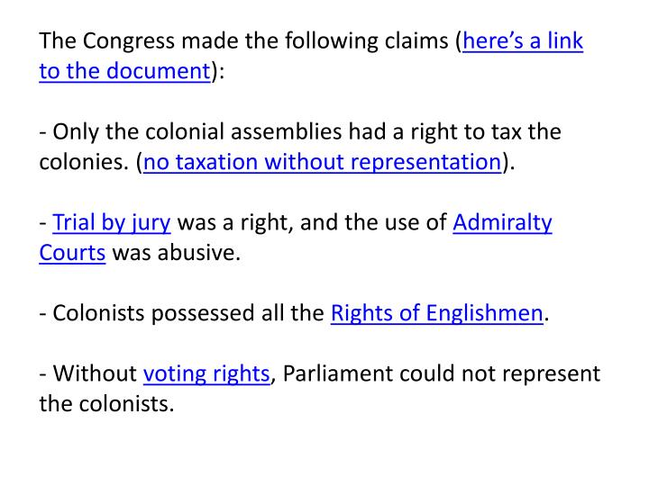 The Congress made the following claims (