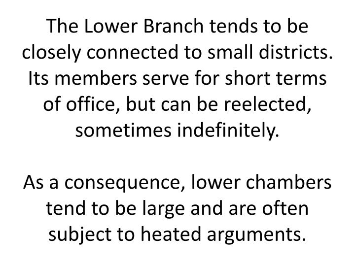 The Lower Branch tends to be closely connected to small districts. Its members serve for short terms of office, but can be reelected, sometimes indefinitely.