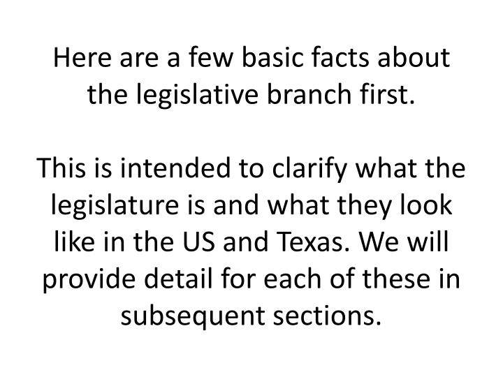 Here are a few basic facts about the legislative branch first.