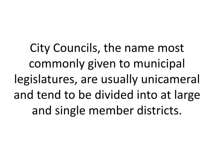 City Councils, the name most commonly given to municipal legislatures, are usually unicameral and tend to be divided into at large and single member districts.