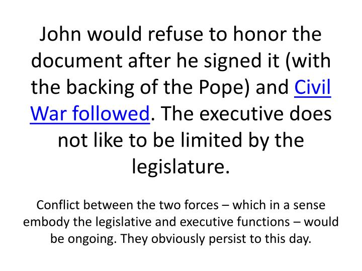 John would refuse to honor the document after he signed it (with the backing of the Pope) and