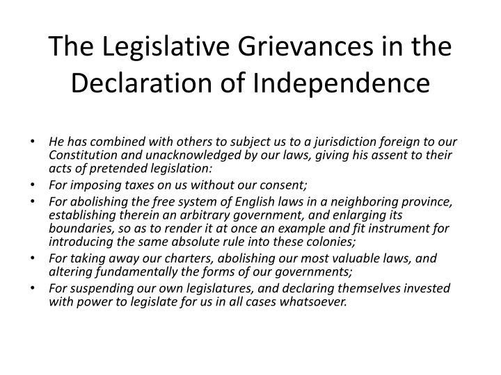 The Legislative Grievances in the
