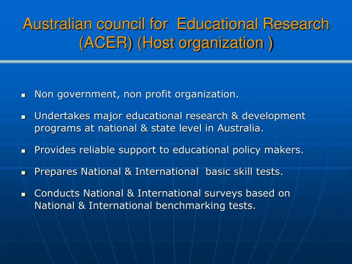 Australian council for  Educational Research (ACER) (Host organization )
