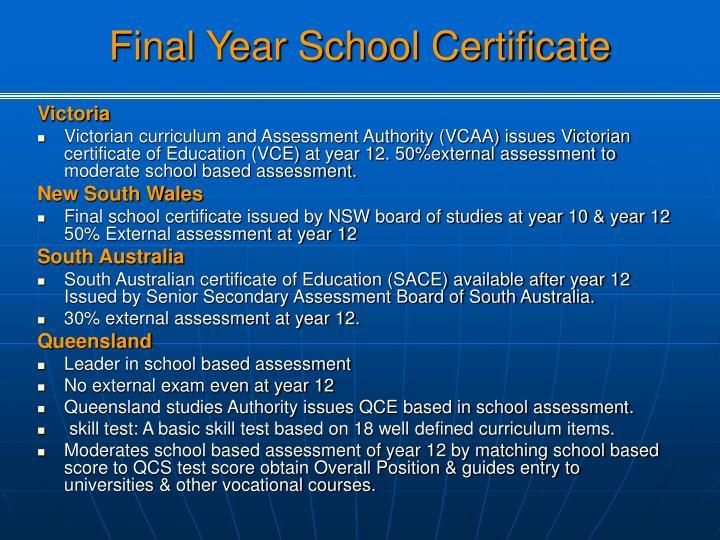 Final Year School Certificate