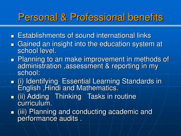 Personal & Professional benefits