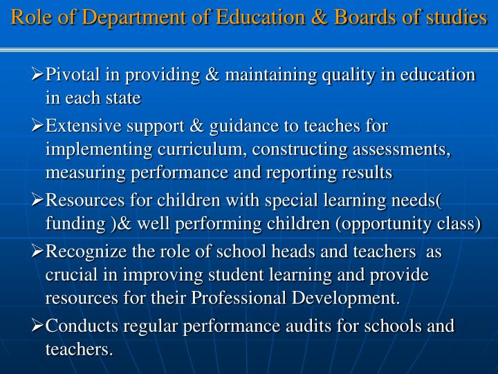 Role of Department of Education & Boards of studies