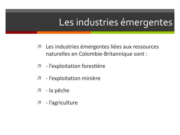 Les industries émergentes