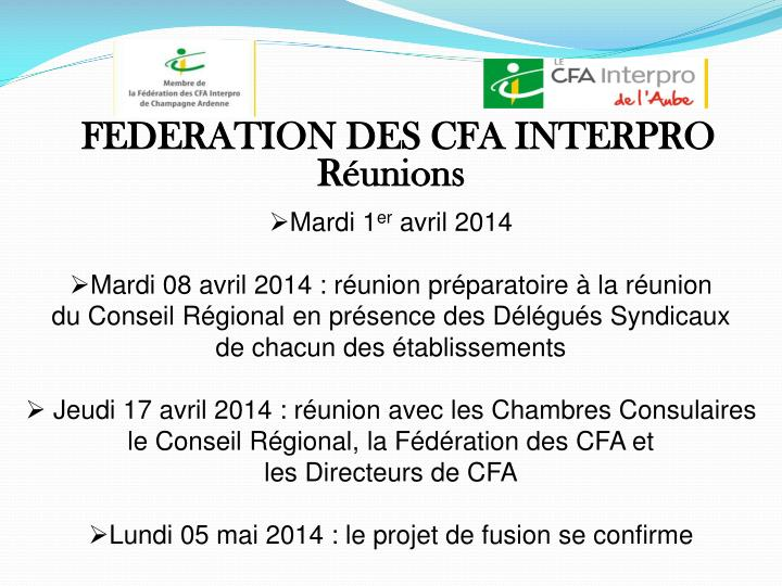 FEDERATION DES CFA INTERPRO