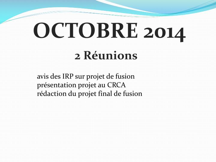 OCTOBRE 2014