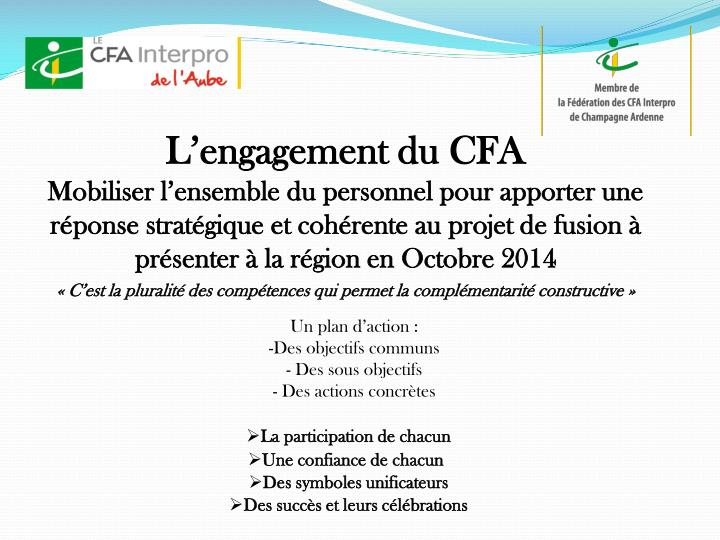 L'engagement du CFA