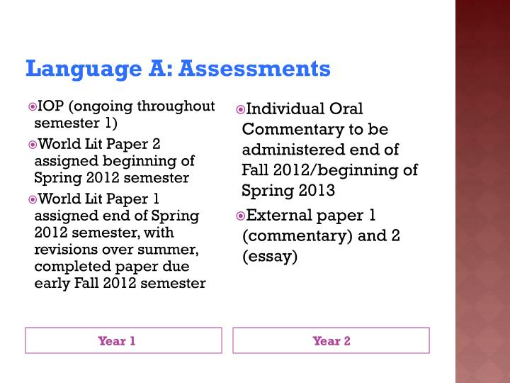 Language A: Assessments