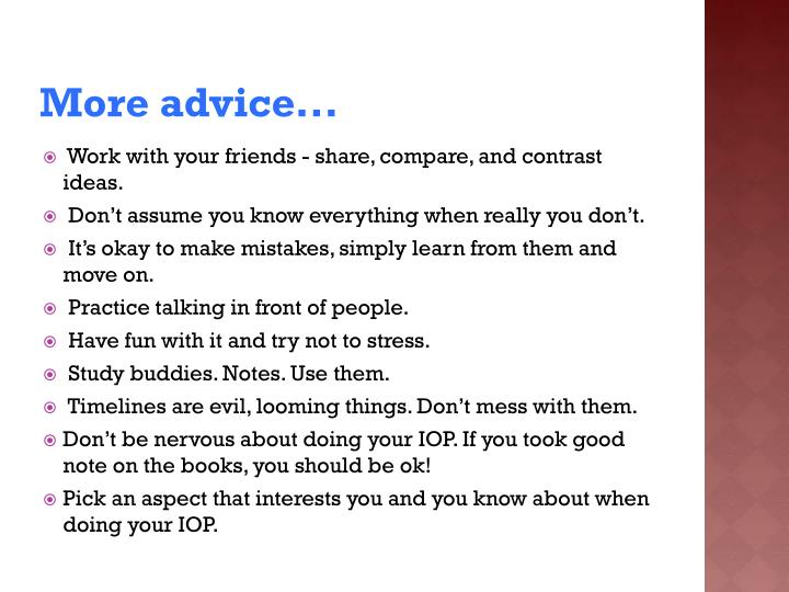 More advice...