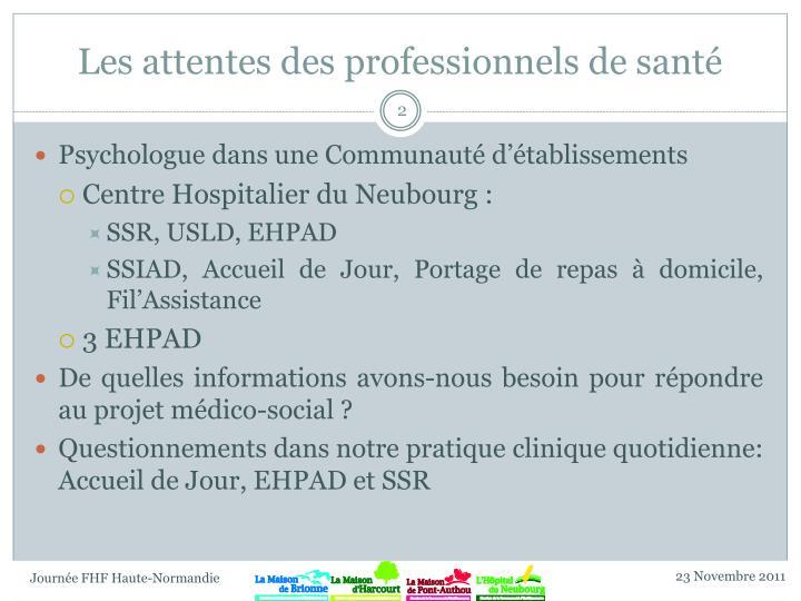 Les attentes des professionnels de santé