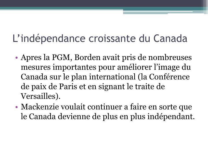 L'indépendance croissante du Canada