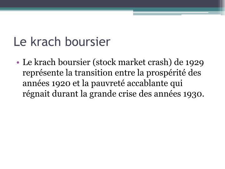 Le krach boursier