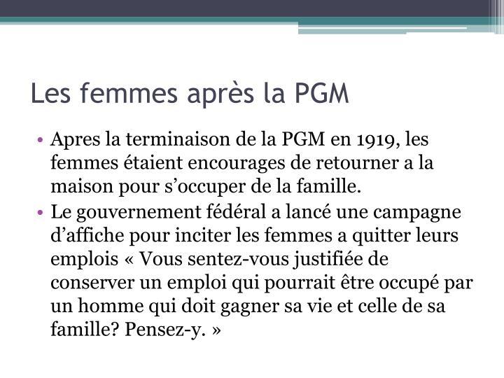 Les femmes après la PGM