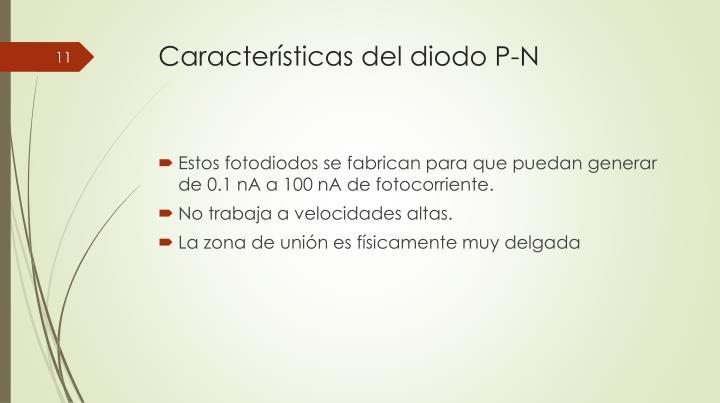 Características del diodo P-N