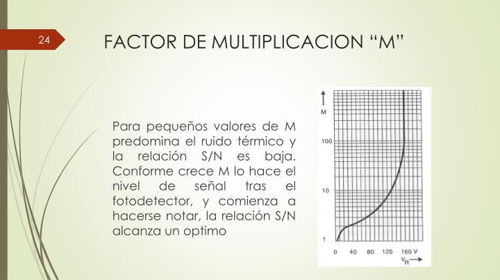 "FACTOR DE MULTIPLICACION ""M"""