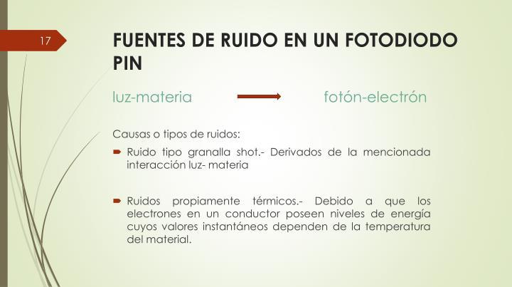 FUENTES DE RUIDO EN UN FOTODIODO PIN