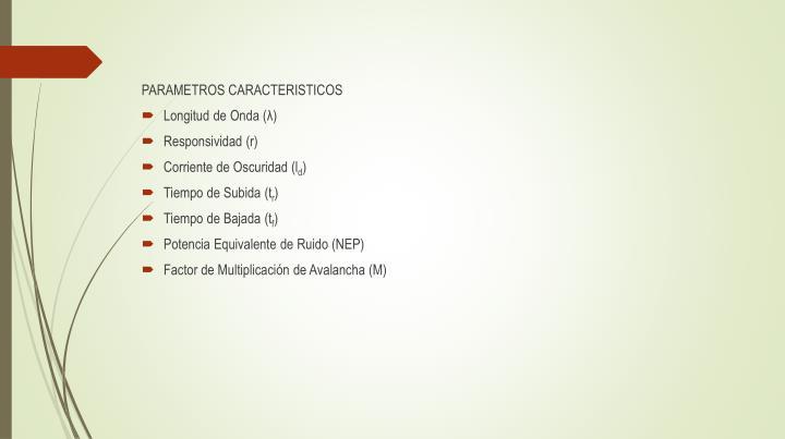 PARAMETROS CARACTERISTICOS
