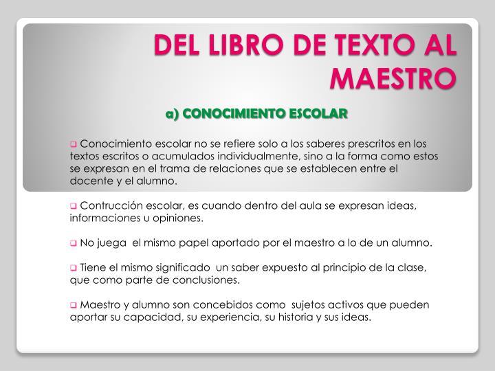 DEL LIBRO DE TEXTO AL MAESTRO