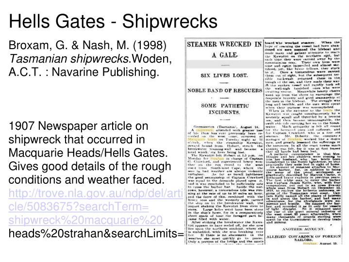 Hells Gates - Shipwrecks