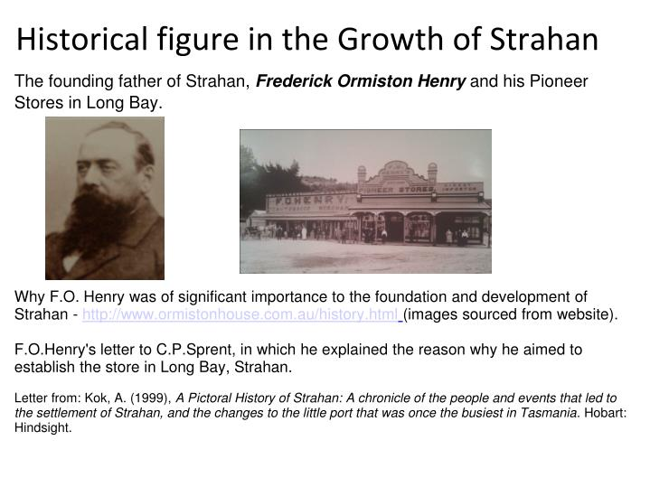 Historical figure in the Growth of Strahan