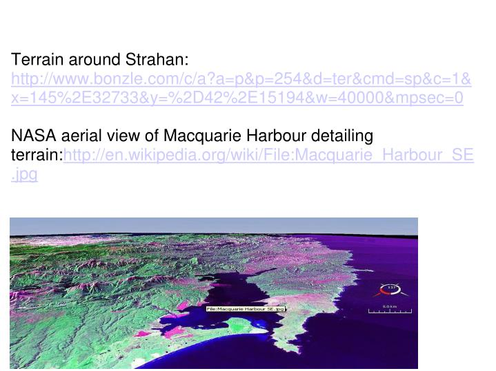 Terrain around Strahan: