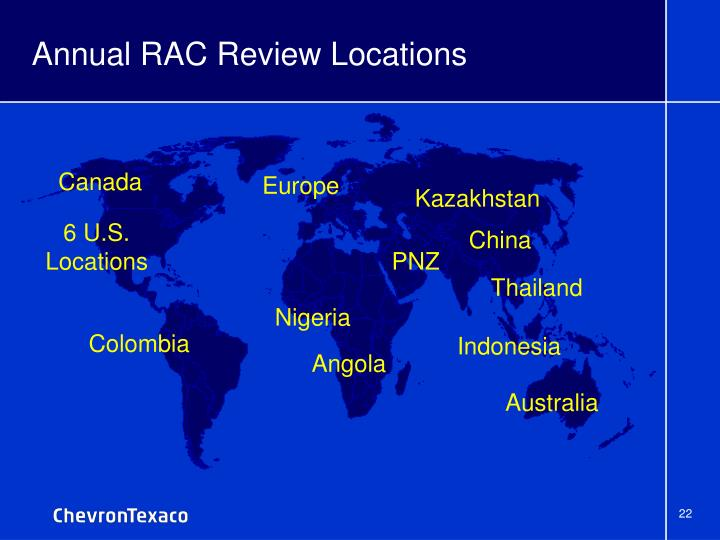 Annual RAC Review Locations