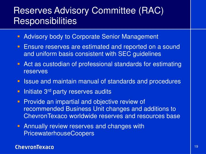 Reserves Advisory Committee (RAC) Responsibilities