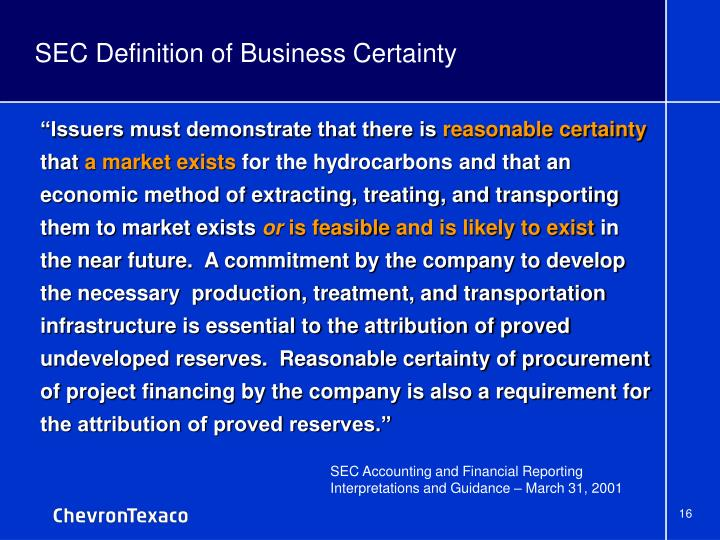 SEC Definition of Business Certainty