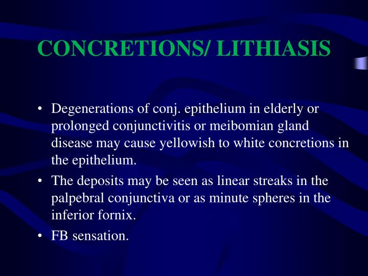 CONCRETIONS/ LITHIASIS