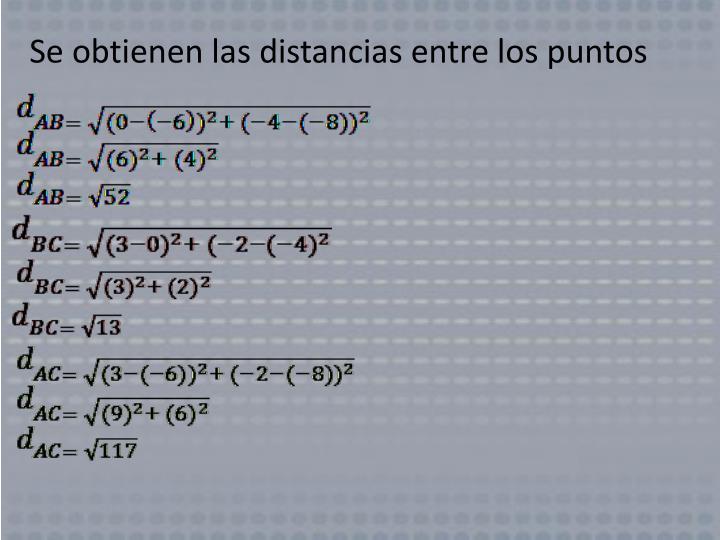 Se obtienen las distancias entre los puntos