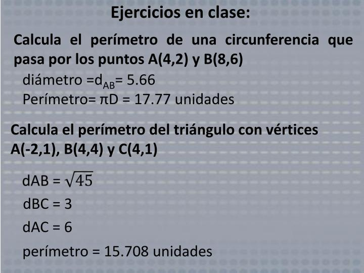 Ejercicios en clase: