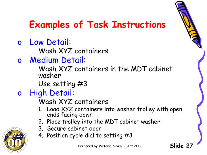 Examples of Task Instructions