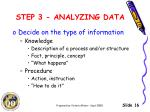 step 3 analyzing data