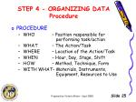 step 4 organizing data procedure