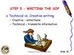 step 5 writing the sop