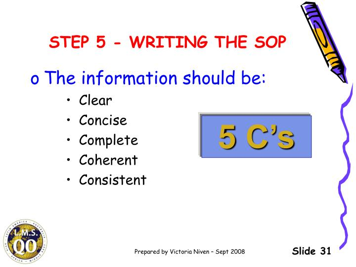 STEP 5 - WRITING THE SOP