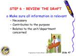 step 6 review the draft2