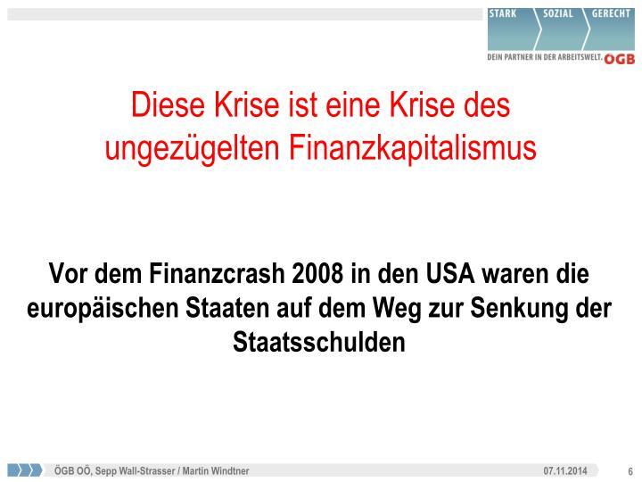 Vor dem Finanzcrash 2008 in den USA waren die europäischen Staaten auf dem Weg zur Senkung der Staatsschulden
