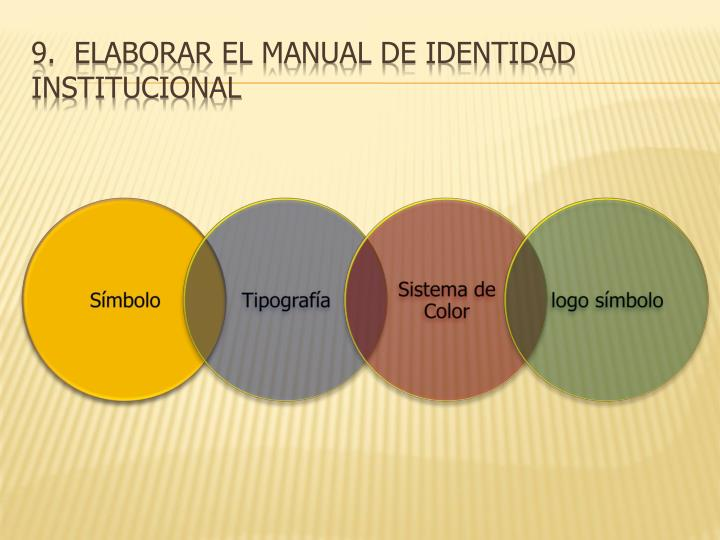 9.  Elaborar el manual de identidad institucional