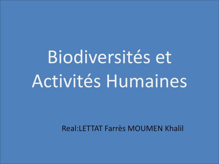 Biodiversités et Activités Humaines