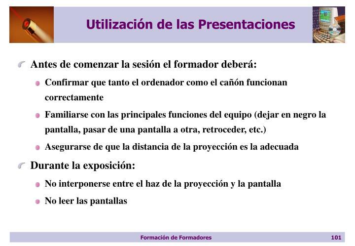 Utilización de las Presentaciones