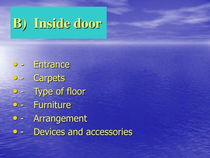 B)Inside door