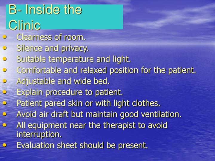 B- Inside the Clinic