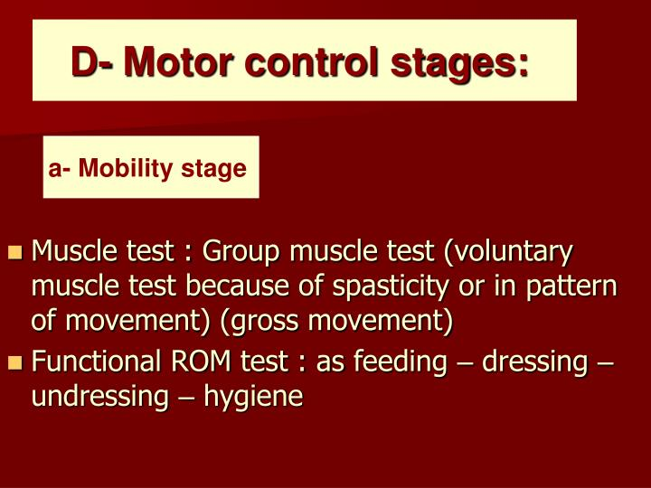 D- Motor control stages: